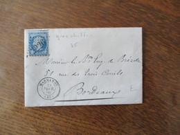 TIMBRE EMPIRE FRANC 20c CACHET 2226 GROS CHIFFRES CACHET MARMANDE 28 FEVR.66 (45) - 1849-1876: Période Classique