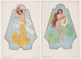 5 Jolies Cartes Fantaisie Signées ( Illisible) / H.Altenberg, Lwöw . Rejchan Inv. / Femmes Dénudées - Donne