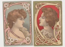 2 Cartes Fantaisie Style Art Nouveau / Profil De Femme Genre Mucha - Donne