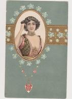Carte Fantaisie Gaufrée Style Art Nouveau / Portrait De Femme Dans Un Médaillon , Genre Mucha - Donne