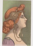 Carte Fantaisie Style Art Nouveau / Femme De Profil  Genre Mucha - Vrouwen