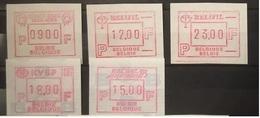 BELGIUM : 5 VIGNETTEN  Congo-zaire, RELIFIL , KVBP , EUROSAIL 93     MNH - Automatenmarken (ATM)