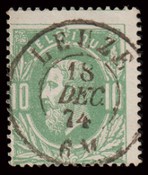 """COB N°30 - Obl. """"CONCOURS"""" D.C.  LEUZE - 1869-1883 Leopold II."""