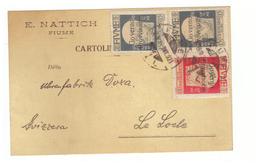 Fiume 1921 Carte Cartolina + Timbre Timbres Surchargé Governo Provisrio Enrico Nattich Orologeria Horlogerie - Fiume