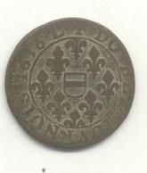 Double Tournois  BERRY PRINCIPAUTÉ DE BOISBELLE-HENRICHEMONT   MAXMILIEN De  BETHUNE  DUC DE SULLY   1636 L - 476-1789 Monnaies Seigneuriales