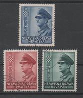 Croatia NDH, Used, 1943, Michel 100, 101, 102 - Croatia
