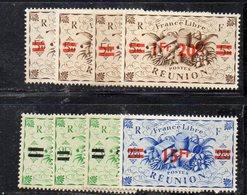 APR3019 - REUNION 1945,  Yvert N. 252/259  *  Linguella (2380A) - Ongebruikt
