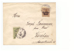 Pologne 1915 WARSZAWA - VARSOVIE - Poste Locale - Demi-timbre Sur Lettre Oblitération Cachet Warschau - Covers & Documents