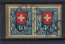 SUISSE Pro Juventute 1922:  Paire Du J24  Oblitérée Gettnau Sur Petit Fragment - Pro Juventute