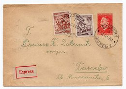 1953 YUGOSLAVIA,CROATIA,ZAGREB TO PANCEVO,TPO 1 SEZANA-BEOGRAD-GEVGELIJA AT THE BACK,STATIONERY COVER,TITO - Enteros Postales
