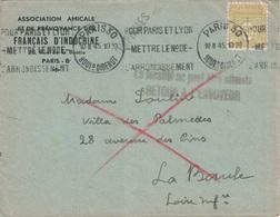 ARC DE TRIOMPHE - N°623 SEUL SUR LETTRE - PARIS - LE 10-2-1945 - GRIFFE LA LOCALITE NE PEUT ETRE ATTEINTE RETOUR A L'ENV - Posttarife