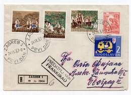 YUGOSLAVIA, FDC, NATIONAL COSTUMES, FOLCLORE, 24.09.1957.DAY BEFORE ZAGREB TO BELGRADE, VIOLET INSIDE, STATIONERY COVER - FDC