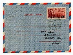 1948 YUGOSLAVIA,MACEDONIA,TPO 1 SKOPJE-BELGRADE,SKOPJE TO BELGIUM, AEROGRAM,AIRMAIL STATIONERY COVER, USED - Airmail