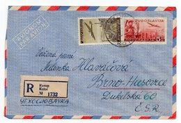 195? YUGOSLAVIA,MONTENEGRO,KOTOR TO BRNO,C.S.R,REGISTERED,AEROGRAM,AIRMAIL STATIONERY COVER, USED - Airmail
