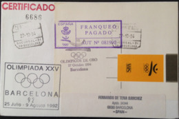 """Spain, Registered And Circulated Cover, """"Barcelona '92"""", """"XXV OLYMPICS"""", """"COOB '92"""", """"Olimpicos De Oro 1994"""" - Collections"""