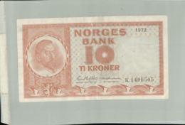 BILLET Banque  NORVEGE 10 KRONER  1972-Janv 2020  Clas Gera - Noruega