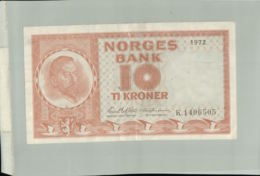 BILLET Banque  NORVEGE 10 KRONER  1972-Janv 2020  Clas Gera - Norway