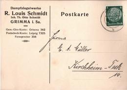 ! 1 Beleg 1936 Aus Grimma, Sachsen - Allemagne