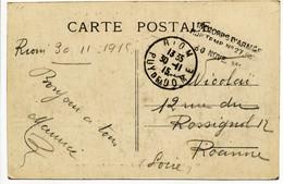 PUY DE DOME CP 1915 RIOM HOPITAL TEMPORAIRE N°27 RIOM - 1877-1920: Période Semi Moderne