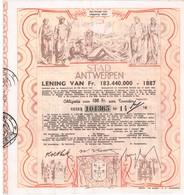 Obligation Ancienne - Stad Antwerpen Leening 1887 - Ville D'Anvers Emprunt 1887 - Titre De 1947 - Déco - - Actions & Titres