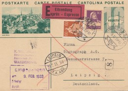 Schweiz: Ganzsache: 1933: Eilboten Waedenswil Nach Leipzig - Suiza