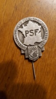 PSF PARTI SOCIAL FRANCAIS EPINGLE BROCHE 3em CONGRES NATIONAL PARIS 1938 FORMAT 3 X 2.50 CM HORS EPINGLE - Militaria