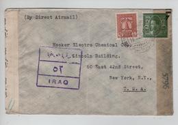 133PR/ Iraq Air Mail Cover Baghdad 12/NOV/44 Censored Iraq Strip & Sigature > N.Y. US Censor Strip 5796 - Iraq