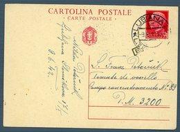 °°° Cartolina Postale - Da Cent. 75 Diretta Al Campo Concentramento N. 89 Annullo Lubiana Viaggiata °°° - Jugoslawische Bes.: Triest
