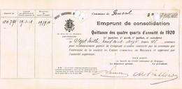 Titre Ancien - Royaume De Belgique - Commune De Genval- Emprunt De Consolidation Quittance De 4 1/4 D'annuité De 1920 - Aandelen