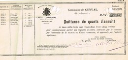 Titre Ancien - Royaume De Belgique - Commune De Genval - Emprunts Divers - Quittance De 1/4 D'annuité De 1920 - Actions & Titres