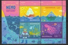 HUNGARY, 2019, MNH, JULES VERNE CAPTAIN NEMO, MARINE LIFE, OCTOPUS, FISH, TURTLES, SHARKS, SHIPS, SHEETLET OF 4v - Fairy Tales, Popular Stories & Legends