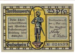 Deutschland Notgeld 25 Pfennig Mehl987.1 (1) NORDHAUSEN /82M/ - Lokale Ausgaben