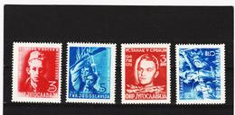 IMO127 JUGOSLAWIEN 1951  Michl 658/59 + 664/65 ** Postfrisch SIEHE ABBILDUNG - 1945-1992 République Fédérative Populaire De Yougoslavie