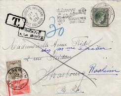 Env Affr 3 F De LUXEMBOURG Adressée à Strasbourg Taxée 30 F  - TROUVE / A LA BOITE - Réexpédiée à Rosheim - Alsace Lorraine