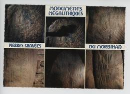 Monuments Mégalithiques Du Morbihan, Pierres Gravées Dans L'ile De Gavrinis Et Locamariaquer (cp Vierge N°3652) - Dolmen & Menhirs