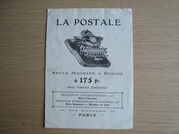 DOCUMENT PUBLICITAIRE MACHINE A ECRIRE LA POSTALE - Publicités
