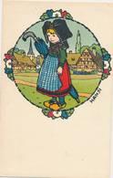 CPA Signée Illustrateur HANSI - Alsacienne Avec Son Parapluie - La Cigogne - Hansi