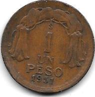 *Chile 1 Peso 1951 Km 179   Xf - Chile