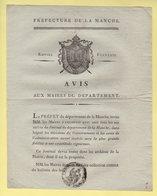 Prefet De La Manche - Avis Uax Maires - Consrvation Du Journal Du Departement De La Manche - Documents Historiques