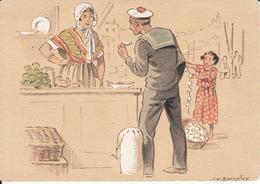 Ill Bonnefoy , L'écaillère, Marin  ( Croquis Régionaux ) 2 Scans - Künstlerkarten