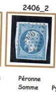 Franc : Petit Chiffre N° 2406 : Péronne (  Somme ) Indice 2 - Marcophilie (Timbres Détachés)