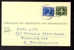 1957 Uprated Change Of Address Zwolle > Karl Lips Repelen (FU-52) - Periodo 1949 – 1980 (Juliana)