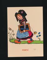 CPSM Signée Illustrateur HANSI -  Alsacienne Avec Carton à Dessins -  By Spadem 1989 - Hansi