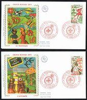 """Y/T N° 1860/61 S/ 2 FDC """"soie"""" - Oblitération """" LE CREUSOT - 29 NOV 1975"""" - Croix-Rouge -Les Saisons: Printemps, Automne - FDC"""
