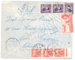LYON Rhône Lettre Du CAIRE Cairo3 Egypte Avion 32 Millièmes TAXE France Gerbes 3F Yv T83 Ob 27 4 1948 - Taxes