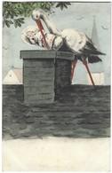 Carte Naissance - Cigogne Déposant Un Bébé Dans Une Cheminée - Enfant - Birth