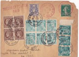 Curiosité Philatélique : Sur Lettre « TRESOR ET POSTES » De1915, Bloc MERCURE RF, CERES MAZELIN, CHAINE BRISEE, 1949. - France