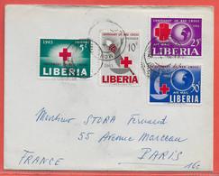 LIBERIA LETTRE DE MONROVIA DE 1963 POUR PARIS FRANCE CROIX ROUGE - Liberia