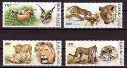 Lion Lions Cheetah Cheetahs Caracals Caracal Leopards Leopard Big Cats Animals Burkina Faso MNH 4 Stamps 1996 - Roofkatten