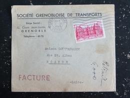 GRENOBLE GARE - ISERE - FLAMME MUETTE SUR YT 803 PALAIS LUXEMBOURG - ENTETE SOCIETE GRENOBLOISE DE TRANSPORTS - Oblitérations Mécaniques (flammes)